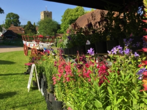 A mid-summer market event at the Tithe Barn, Lenham, Kent