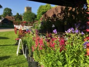 A mid-summer market event at the Tithe Barn, Lenham, Kent